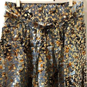 Dresses & Skirts - Gold Foil/Denim African Print Skirt Size 18